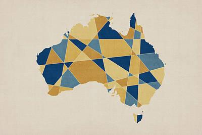 Australia Geometric Retro Map Print by Michael Tompsett