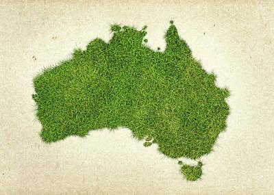 Australia Grass Map Print by Aged Pixel