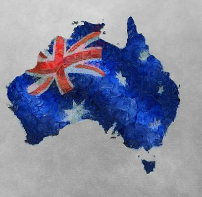 Australian Continent Painting - Australia Map And Flag by Dan Sproul
