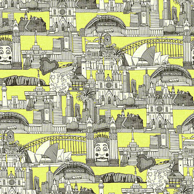 Stadiums Drawing - Australia Toile De Jouy by Sharon Turner