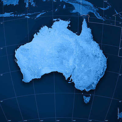 Australia Topographic Map Print by Frank Ramspott