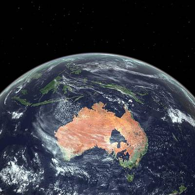 Astronomical Art Photograph - Australia With Sea Level Rise by Walter Myers