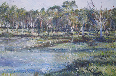 Painting - Australian Bush Near Coutts Crossing by Enver Larney