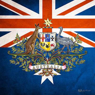 Australian Coat Of Arms And Flag  Original by Serge Averbukh
