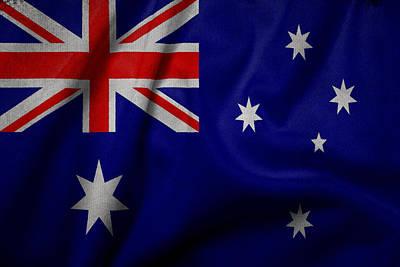 Waving Flag Mixed Media - Australian Flag Waving On Canvas by Eti Reid