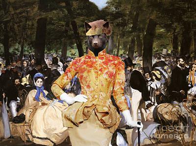 Kelpie Painting - Australian Kelpie Canvas Print - Music With Tuileries by Sandra Sij
