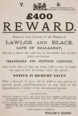 Australian Reward Poster, 1854 Print by Australian School