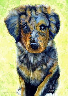 Puppy Dog Eyes Painting - Australian Shepherd Puppy by Janine Riley