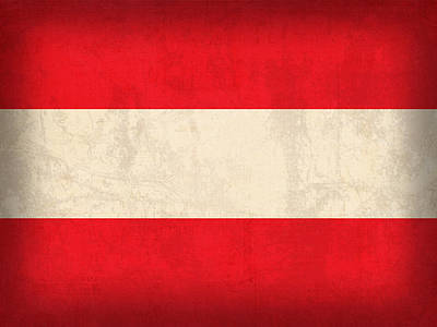 Flag Mixed Media - Austria Flag Vintage Distressed Finish by Design Turnpike