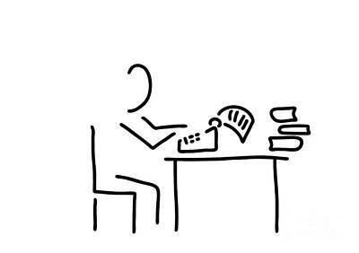 Typewriter Drawing - Author Typewriter by Lineamentum
