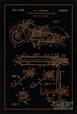 Drawing Of The Factory Photograph - Automate Motorcycle Stand Retractor Blk Brown by Brian Lambert