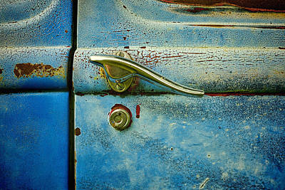automobiles- cars - Blue and Rust  Print by Ann Powell