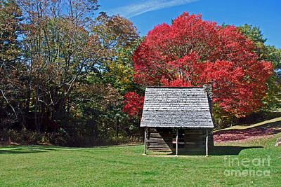 Log Cabin Photograph - Autum For A Mountain Home by Skip Willits