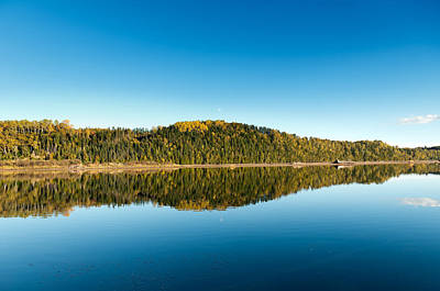 Autum Forest Reflection In The Ocean  Print by Ulrich Schade