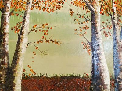 Autum On The Ema River  2 Print by Misuk Jenkins