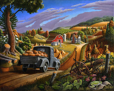 Autumn Appalachia Thanksgiving Pumpkins Rural Country Farm Landscape - Folk Art - Fall Rustic Print by Walt Curlee