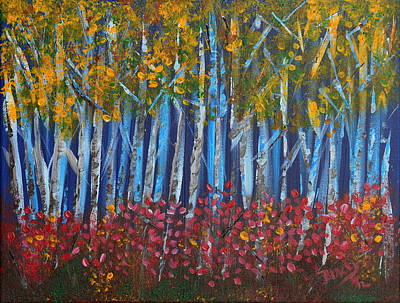Nature Abstracts Painting - Autumn Aspens by Donna Blackhall