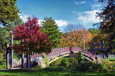 Garden Scene Mixed Media - Autumn At Bradley Park Japanese Bridge 03 by Thomas Woolworth