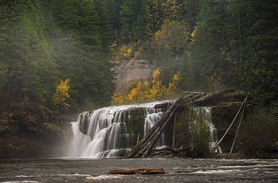 Autumn At Lower Falls Print by Loree Johnson