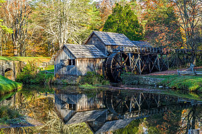 Autumn At Mabry Mill Print by Lori Coleman