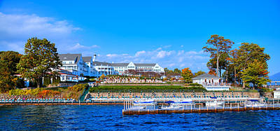 Hdr Photograph - Autumn At The Sagamore Hotel - Lake George New York by David Patterson
