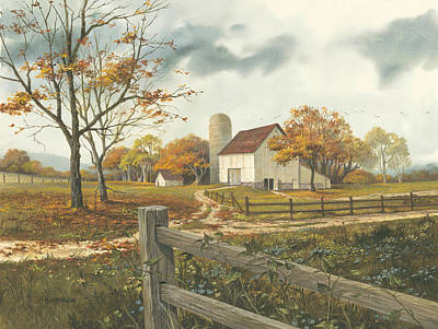 Dirt Roads Painting - Autumn Barn by Michael Humphries