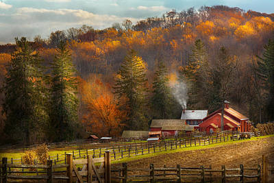 Fencing Photograph - Autumn - Barn - The End Of A Season by Mike Savad