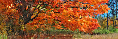 Fall Panorama Painting - Autumn Blaze Panorama by Christopher Arndt