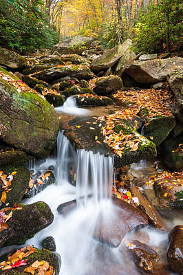 Autumn Blue Ridge Mountain Cascade Print by Mark VanDyke