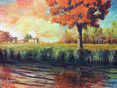 Tuscan Sunset Painting - Autumn By The Lake by Christopher Clark