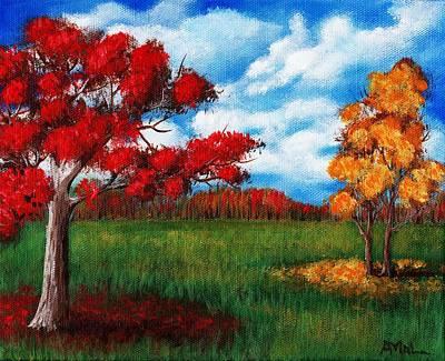 Changing Leaves Drawing - Autumn Colors by Anastasiya Malakhova