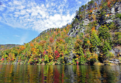 Autumn Colors On A Lake Print by Susan Leggett