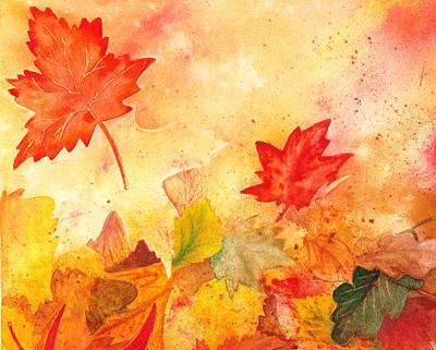Fall Leaves Painting - Autumn Dance by Irina Sztukowski