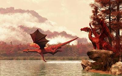 Dungeon Digital Art - Autumn Dragons by Daniel Eskridge