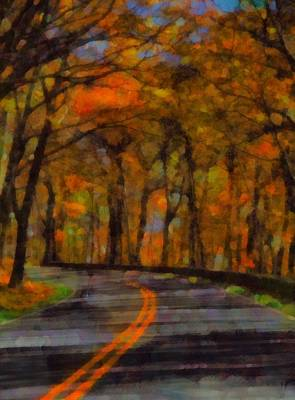 The Trees Mixed Media - Autumn Drive Freedom And Beauty by Dan Sproul