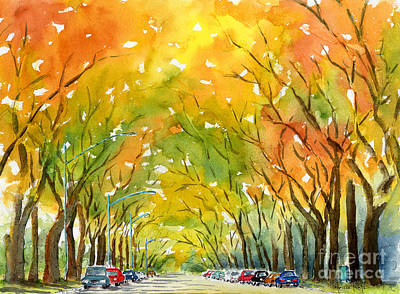 Ink Painting - Autumn Elms by Pat Katz