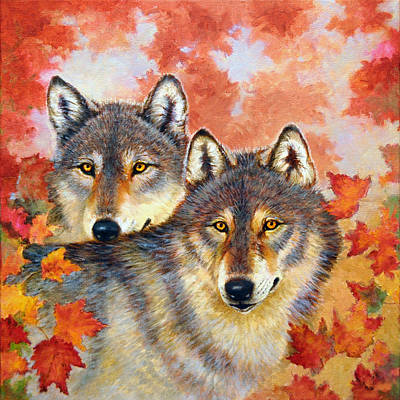 Wolves Painting - Autumn Eyes by Nancy L Baker