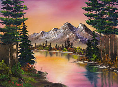 Sawtooth Mountain Art Painting - Mountain Fantasy by C Steele