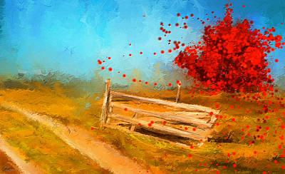 Autumn Farm- Autumn Impressionism Oil Palette Knife Painting Print by Lourry Legarde