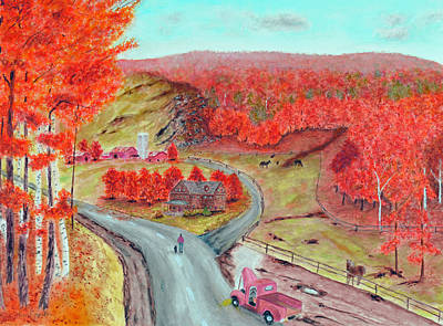 Dog Painting - Autumn Farm Red by Ken Figurski