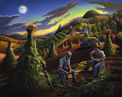 Autumn Farmers Shucking Corn Appalachian Rural Farm Country Harvesting Landscape - Harvest Folk Art Print by Walt Curlee