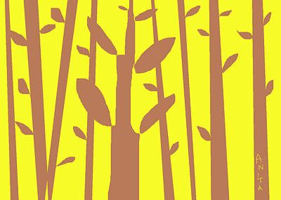 Abstract Digital Drawing - Autumn Forest by Anita Dale Livaditis