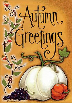 Vines Painting - Autumn Greetings Pumpkin by Anne Tavoletti