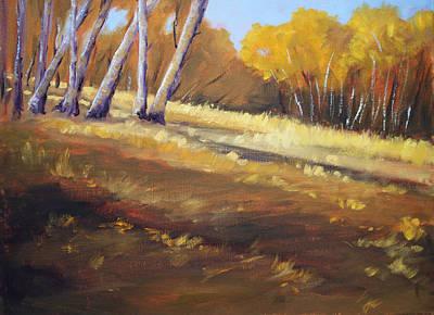 Sunriver Painting - Autumn Hillside Landscape by Nancy Merkle