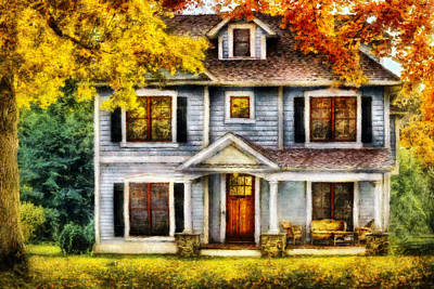 Suburbia Photograph - Autumn - House - Cottage  by Mike Savad