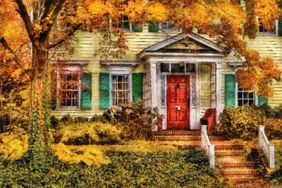 Suburban Digital Art - Autumn - House - Local Suburbia by Mike Savad