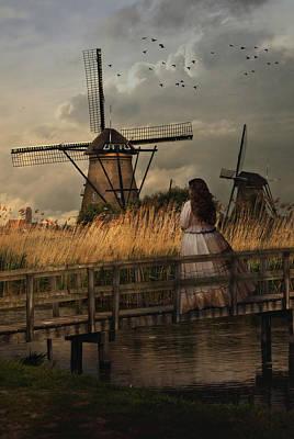 Autumn Impression With Two Dutch Windmills Print by Jaroslaw Blaminsky