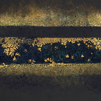 Autumn In Blue And Gold 1 Print by Carol Leigh