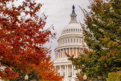 Us Capital Photograph - Autumn In The Us Capitol by Susan Candelario