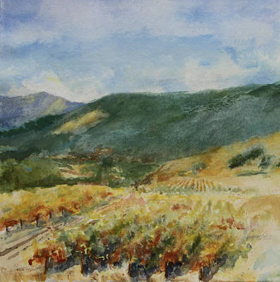 Vineyard In Napa Painting - Harvest Time In Napa Valley by Maria Hunt
